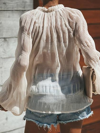 White Chiffon V-neck Puff Sleeve Chic Women Blouse