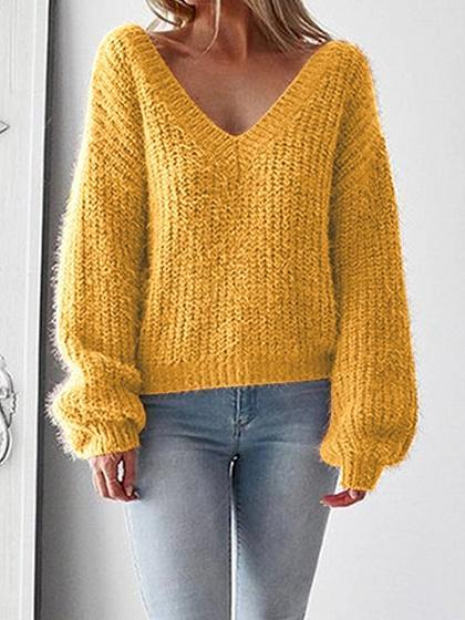 Yellow V-neck Open Back Long Sleeve Knit Sweater