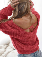 Red V-neck Open Back Long Sleeve Knit Sweater