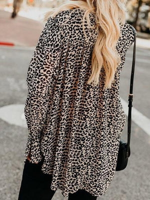 Gray V-neck Leopard Print Flare Sleeve Chic Women Shirt
