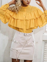 Yellow Chiffon Button Placket Front Ruffle Trim Long Sleeve Shirt
