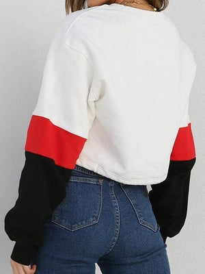White Cotton Blend Contrast Panel Long Sleeve Sweatshirt