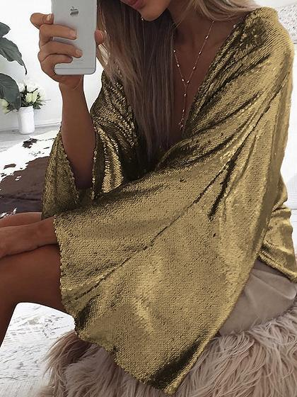 Golden Sparkle Stretch Plunge Flare Sleeve Blouse