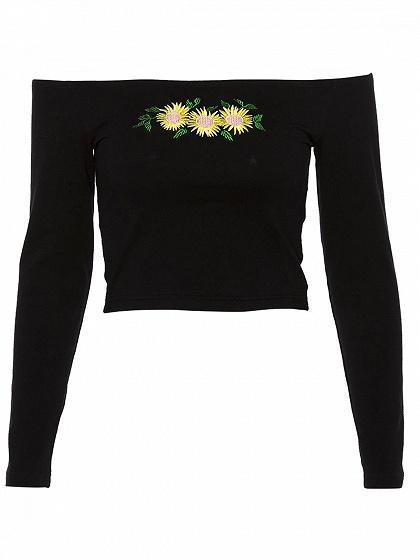 Black Cotton Off Shoulder Sunflower Embroidery Long Sleeve Crop Top