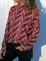 Red High Neck Geo Pattern Print Long Sleeve Sweatshirt