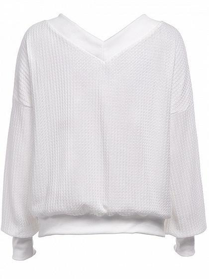White V-neck Puff Sleeve Chic Women Knit Sweater