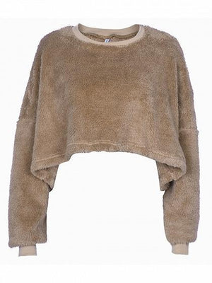 Khaki Velvet Crew Neck Long Sleeve Women Crop Sweatshirt