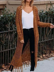 Brown Open Front Tassel Trim Long Sleeve Knit Longline Cardigan