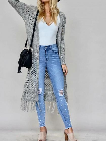 Gray Open Front Tassel Trim Long Sleeve Knit Longline Cardigan