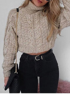 Khaki Cotton High Neck Long Sleeve Crop Sweater