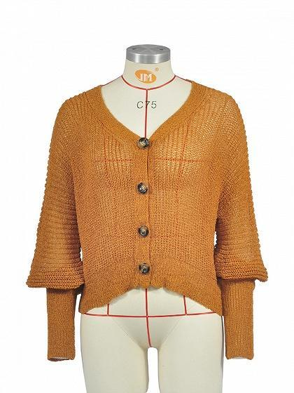 Brown V-neck Button Placket Front Puff Sleeve Knit Sweater
