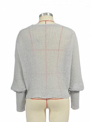 Gray V-neck Button Placket Front Puff Sleeve Knit Sweater