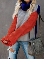Multicolor High Neck Long Sleeve Women Knit Sweater