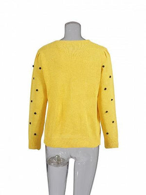 Yellow Crew Neck Fluffy Ball Long Sleeve Women Sweater