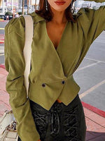 Army Green V-neck Long Sleeve Women Crop Shirt