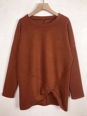Red Knot Front Long Sleeve Women Sweater