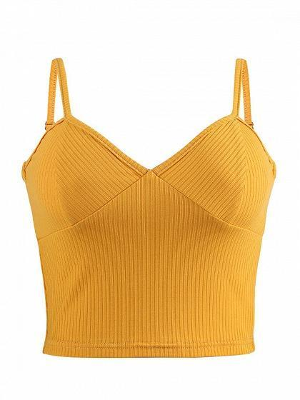 Yellow Ribbed V-neck Women Crop Cami Top