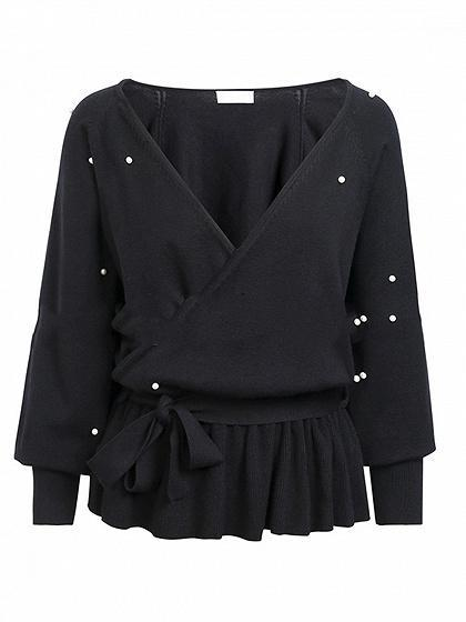 Black V-neck Beaded Detail Ruffle Hem Long Sleeve Women Sweater