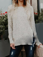 Beige Crew Neck Split Side Long Sleeve Women Sweater
