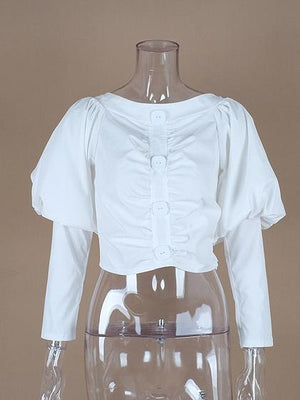 White Cotton Off Shoulder Ruched Detail Puff Sleeve Women Shirt