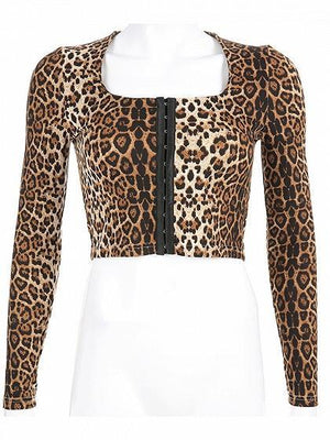 Brown Leopard Print Eyelet Lace Up Back Long Sleeve Women Crop Top