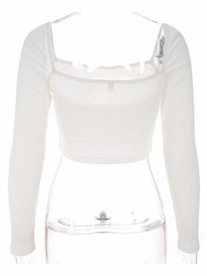 White Ribbed Square Neck Long Sleeve Women Crop Top