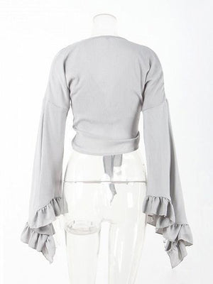 Gray Chiffon V-neck Tie Front Flare Sleeve Women Crop Top