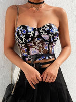 Polychrome Bandeau Flower Embroidery Women Sheer Mesh Crop Top