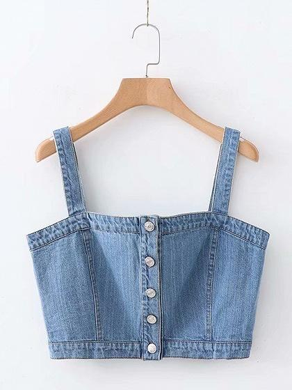Blue Button Placket Front Women Denim Crop Cami Top