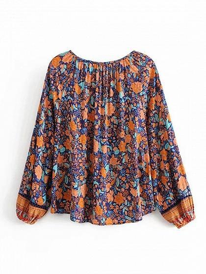 Blue Cotton V-neck Floral Print Puff Sleeve Women Blouse