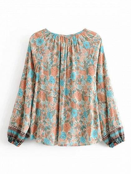 Beige Cotton V-neck Floral Print Puff Sleeve Women Blouse