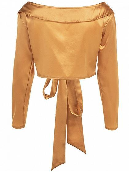 Golden Satin Look Lapel Plunge Tie Front Long Sleeve Women Crop Top