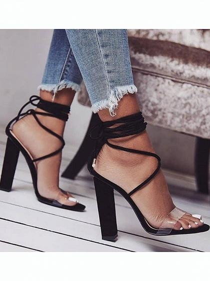 Black Lace Up Sheer PU Panel Women Heeled Sandals