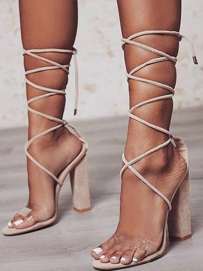 Beige Lace Up Sheer PU Panel Women Heeled Sandals