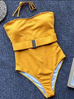 Yellow Bandeau Women Swimsuit