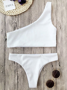 White One Shoulder Bikini Top And High Waist Bottom