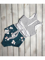 Green Stripe And Floral Print Cut Out Back Women Swimsuit