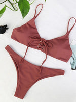 Cameo Brown Eyelet Lace Up Front Women Bikini Top And Bottom