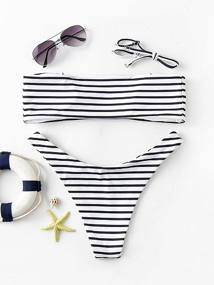Black Stripe Removable Spaghetti Strap Bikini Set
