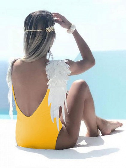 Yellow V-neck Angel Wings One-piece Swimsuit