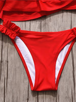 Red Asymmetric Neck Layered Ruffle Trim Bikini Set