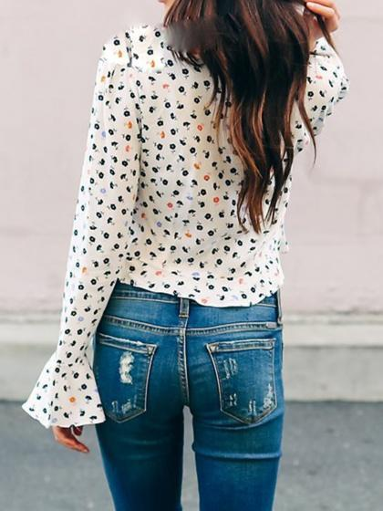 White V-neck Floral Print Flare Sleeve Chic Women Crop Top