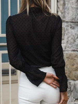 Black Chiffon Stand Collar Frill Trim Long Sleeve Chic Women Blouse