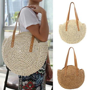 Bohemian Summer Straw Beach Bag Travel Shopping Wicker Tote