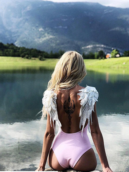 Pink Angel Wings Panel Open Back One-piece Swimsuit