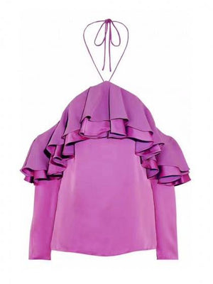 Fuchsia Halter Cold Shoulder Layer Ruffle Long Sleeve Blouse