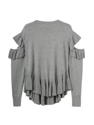 Gray Cold Shoulder Ruffle Trim Long Sleeve Knit Sweater