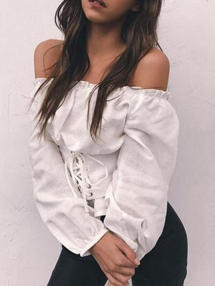 White Off Shoulder Corset Detail Long Sleeve Blouse
