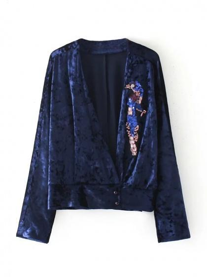 Blue Velvet V-neck Wrap Front Long Sleeve Top