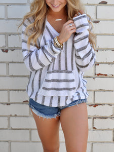 Gray Stripe V Front Pouch Pocket Hooded Knit Sweater